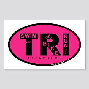 Thiathlon Swim Bike Run Sticker (Rectangle)
